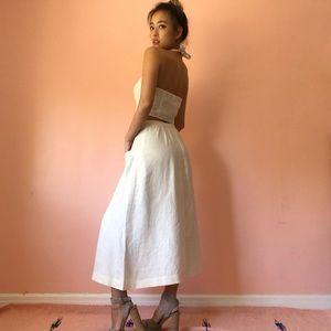 Reformation Other - Reformation Cream Linen Crop Midi Skirt Set
